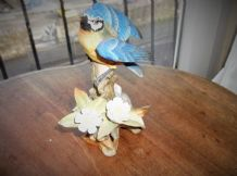 ADORABLE VERY DETAILED CHINA FIGURINE BLUE PARROT ON LOG WITH FLOWERS 5.5""